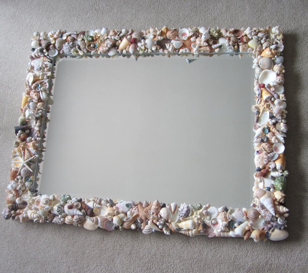 Seashell Mirrors For Beach Decor Nautical Decor Shell Mirror In Natural Or All White Lg