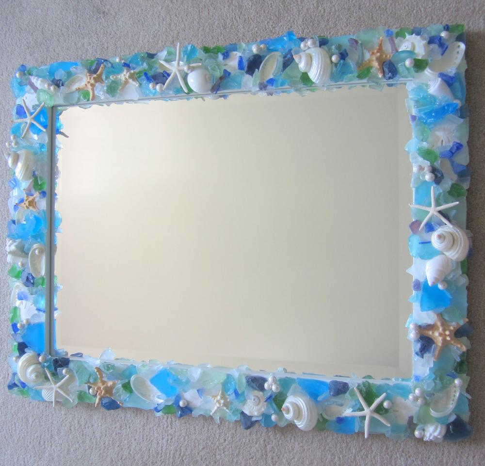 Shell Mirrors For Beach Decor Seashell Mirror W Sea