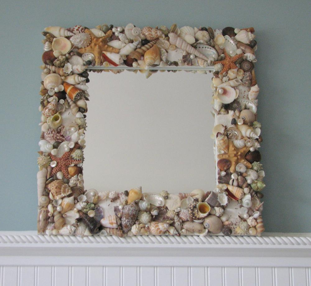Beach Decor Shell Mirror