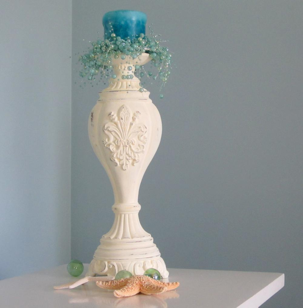 Nautical cottage shabby chic candle stick butter yellow on luulla
