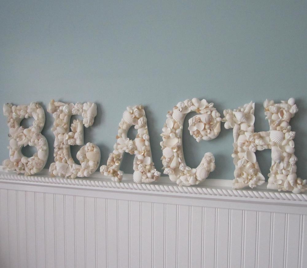 Beach Decor Seashell Letters - Nautical Shell Letters Spell BEACH - White Shells