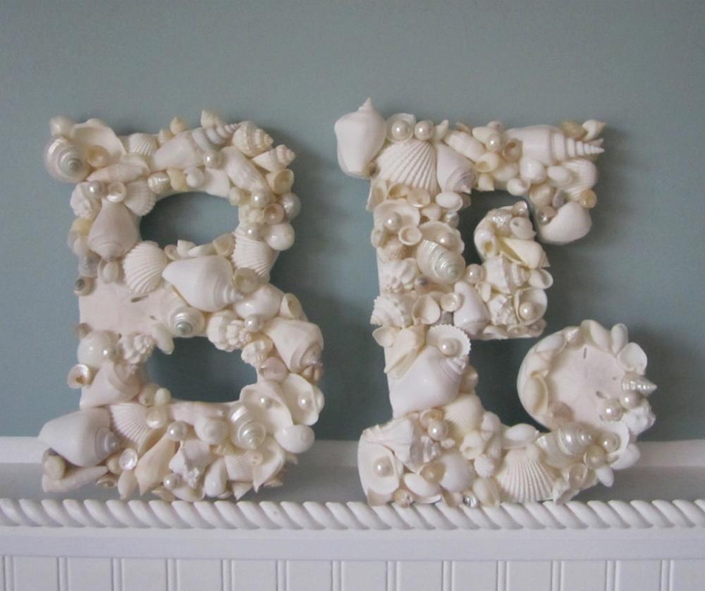 Shell letters for beach decor any 2 nautical decor for Seashell decor