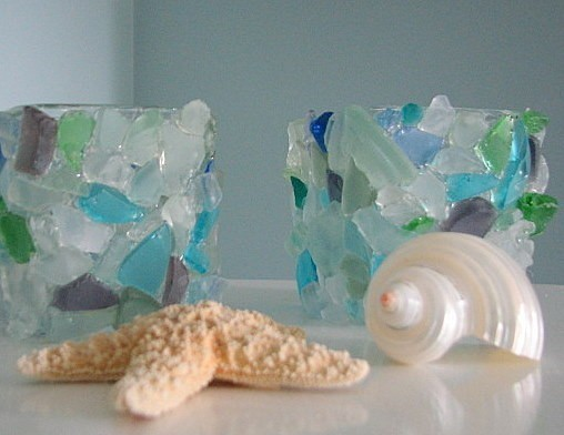 Beach Decor Sea Glass Votive - Beach Glass Candle Holder in Aqua, Blue, Green