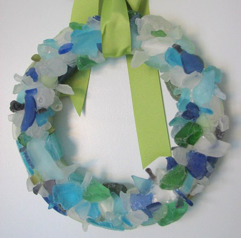 Beach Decor Sea Glass Wreath - Beach Glass Wreath in Aqua, Blue, and Green