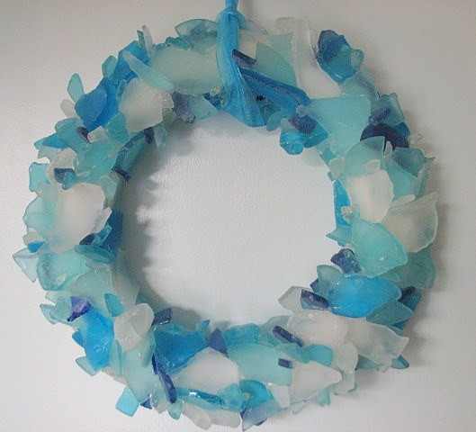 Beach Decor Sea Glass Wreath   Beach Glass Wreath In Aqua, Blue, And Green  On Luulla