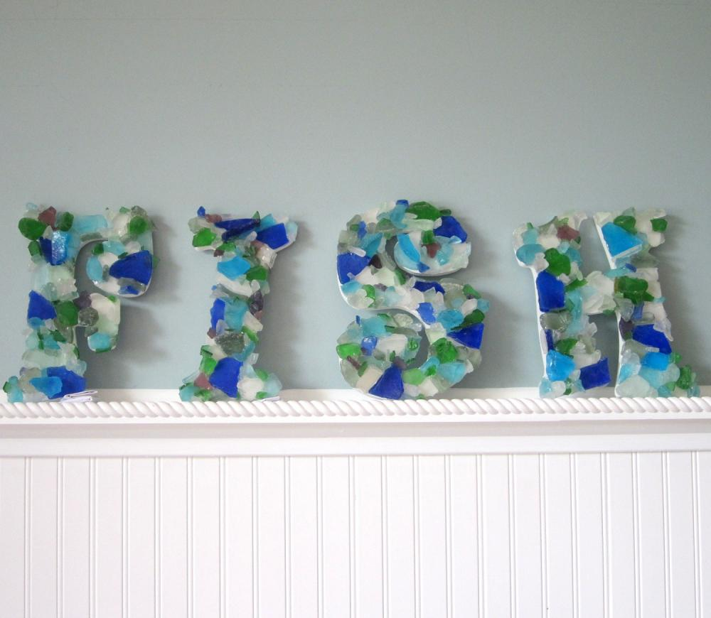 Wall Letters - Nautical Beach Decor Sea Glass Letters Spell FISH, Many Colors