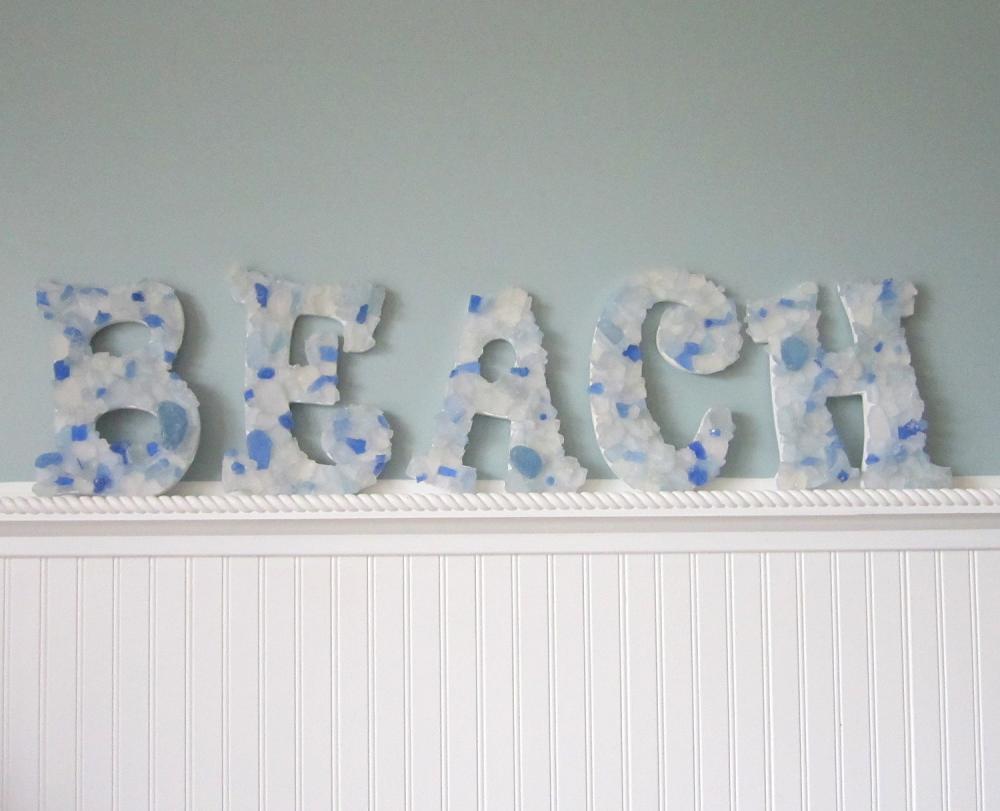 Beach wall letters nautical decor sea glass decorative for Beachside decor
