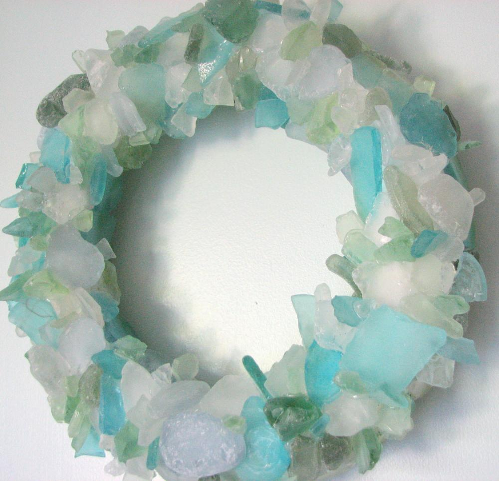 Beach Decor Sea Glass Wreath - Nautical Beach Glass Wreath for Table or Wall