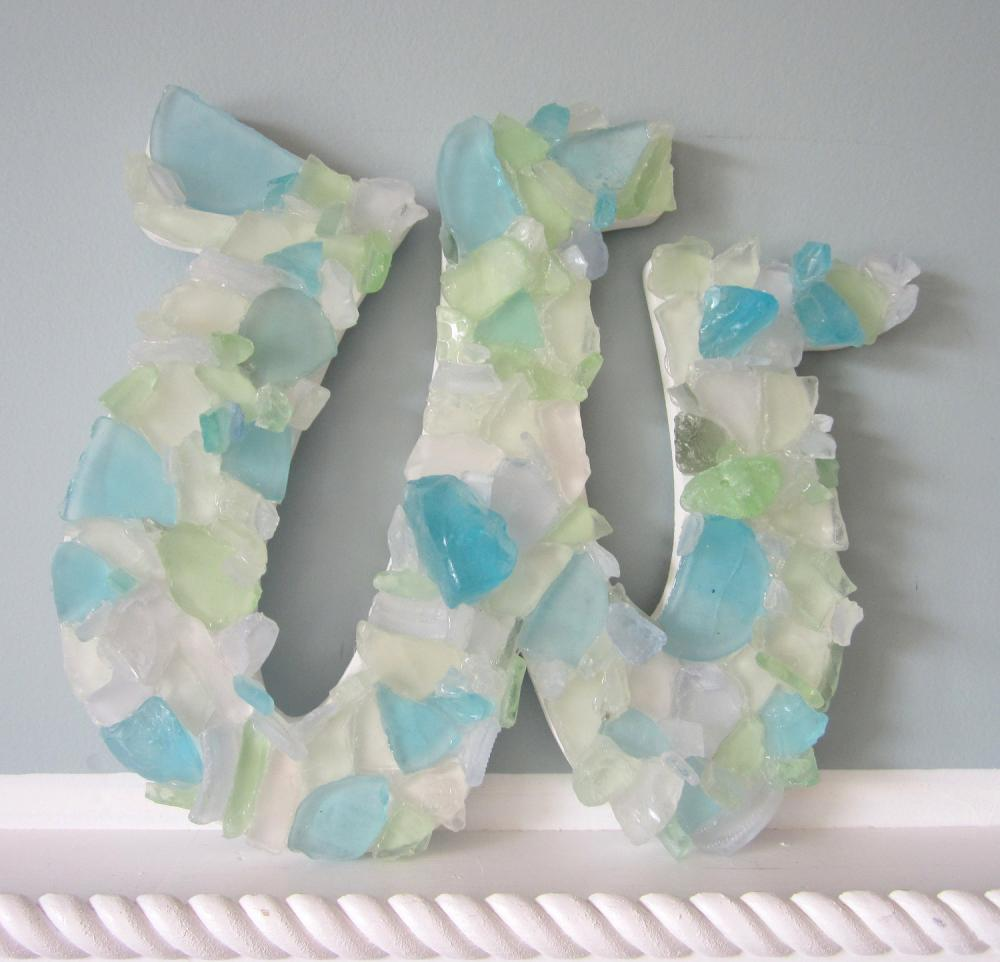 Nautical Decor Wall Letters - Sea Glass - Beach Decor Glass Letters, Any Color, Any (4)