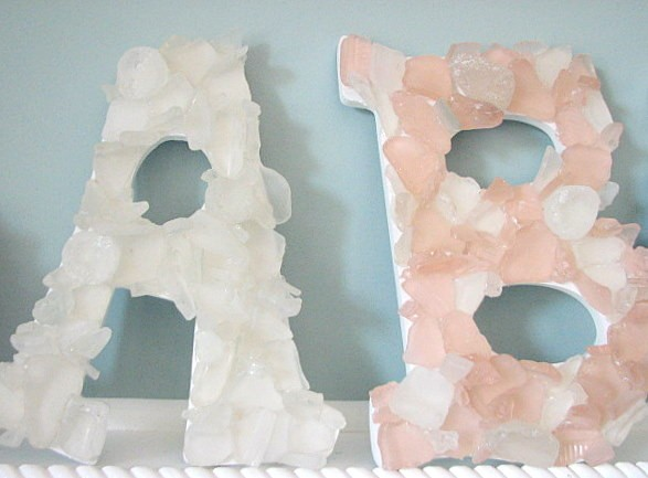 Sea Glass Beach Decor Wall Letters - Any (2) Nautical Beach Glass Letters  in Your Colors
