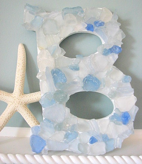 Beach Decor Sea Glass Letters - Nautical Beach Glass Wall Letters in Your Color - Any 3