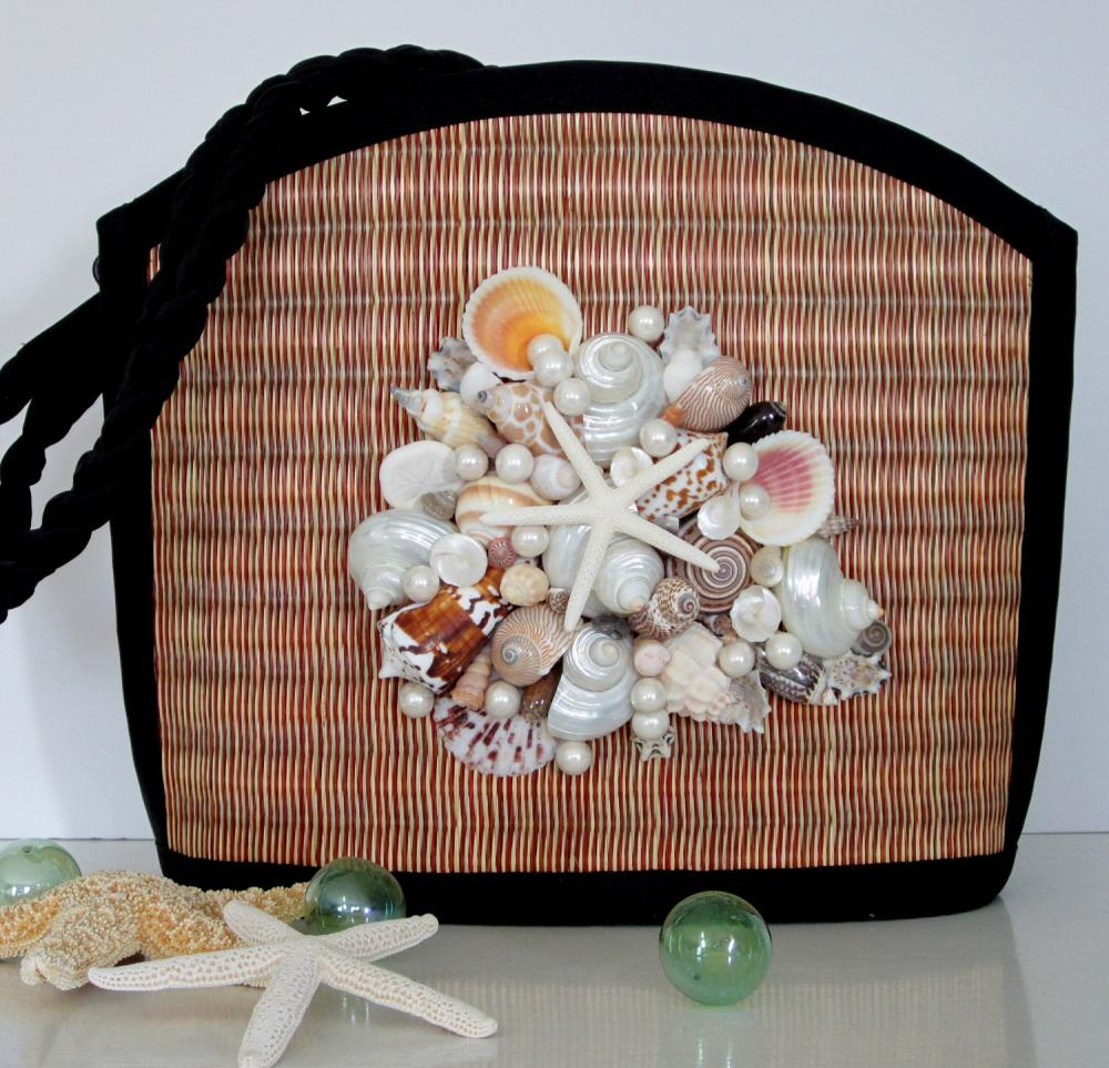 Nautical Seashell Purse - Shell Purse w Sea Grass, Shell, Pearl & Starfish Cluster, Large