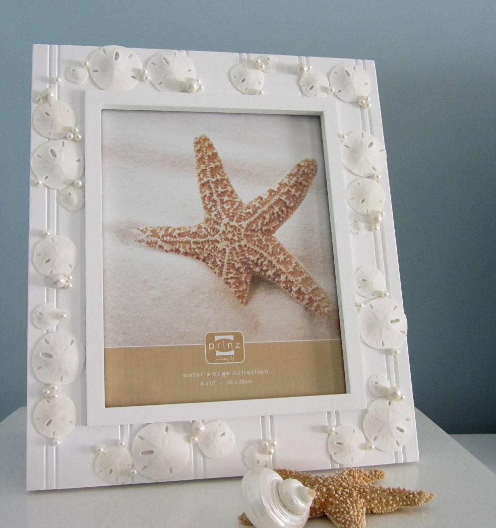 beach frames nautical beach decor shell frame w sand dollars pearls 8x10