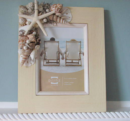 beach decor shell frame nautical decor seashell frame w starfish sand dollars 8x10 ivory