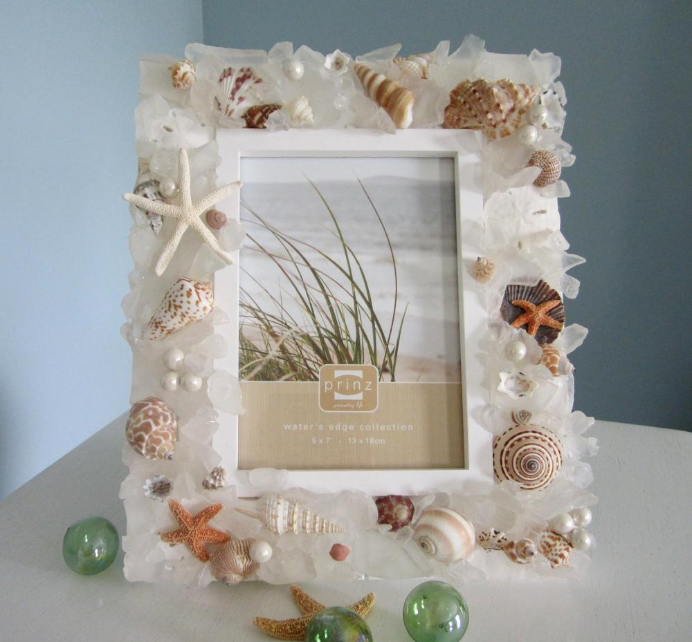 nautical decor seashell frame beach decor sea glass