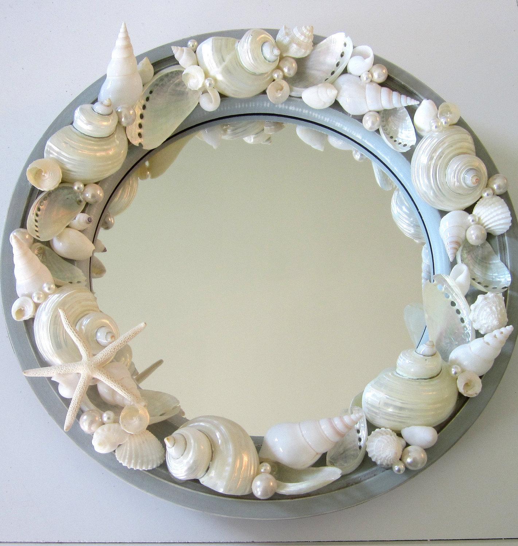 Beach decor seashell mirror nautical decor porthole for Seashell decor