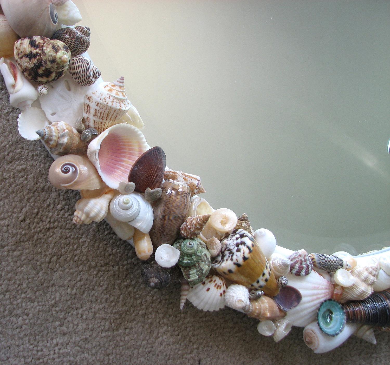 Beach decor seashell mirror nautical decor shell mirror for Seashell decor
