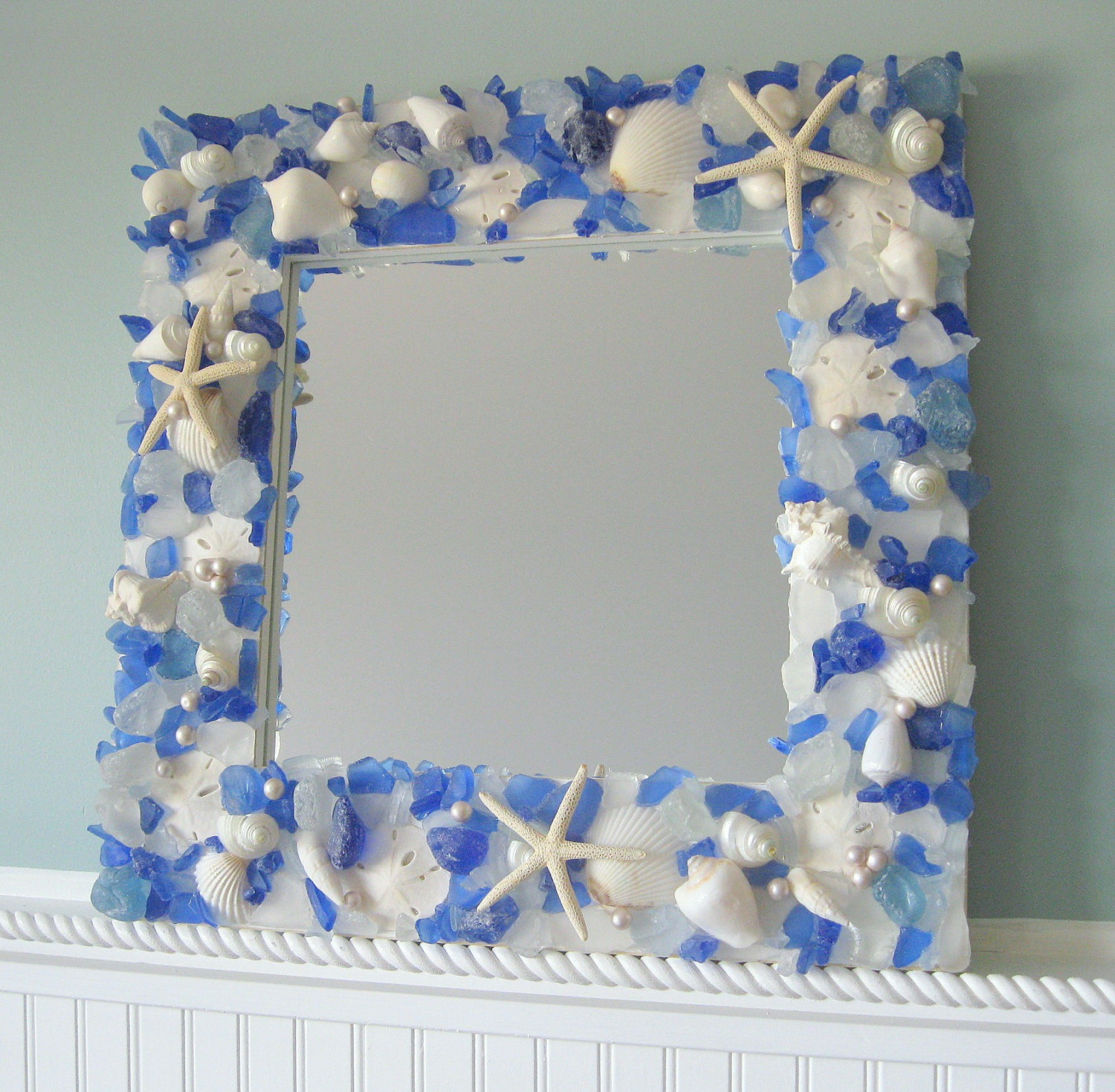 Seashell mirrors for beach decor nautical shell mirrors for Glass and mirror