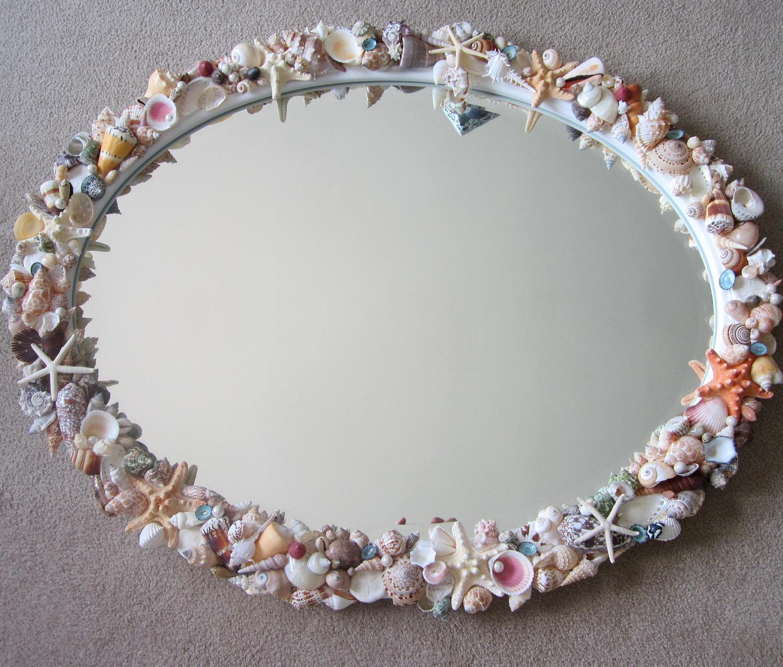 Beach decor seashell mirror nautical decor natural shell for Seashell decor
