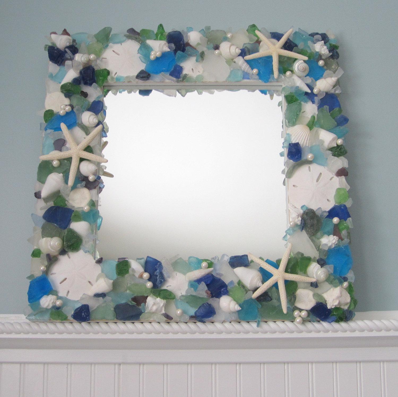 Sea glass seashell mirror beach decor shell mirror w - Como decorar espejos ...