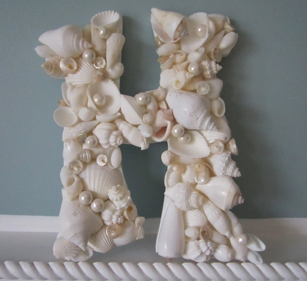shell letter for beach decor nautical decor seashell With seashell wall letters