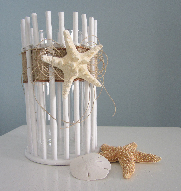Beach decor candle holder or vase lg nautical decor for Beachside decor