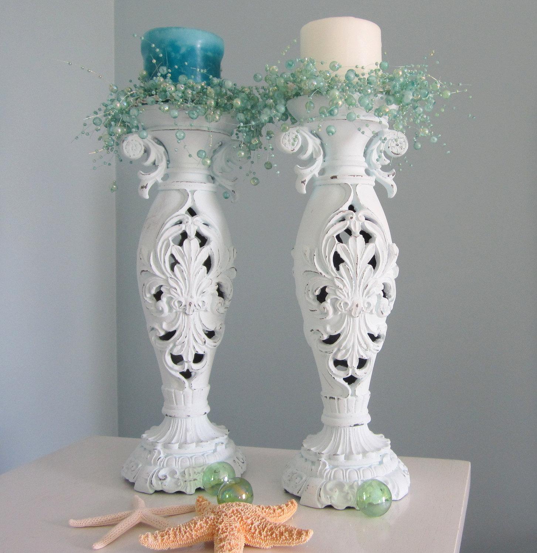 beach decor candlesticks nautical cottage shabby chic. Black Bedroom Furniture Sets. Home Design Ideas