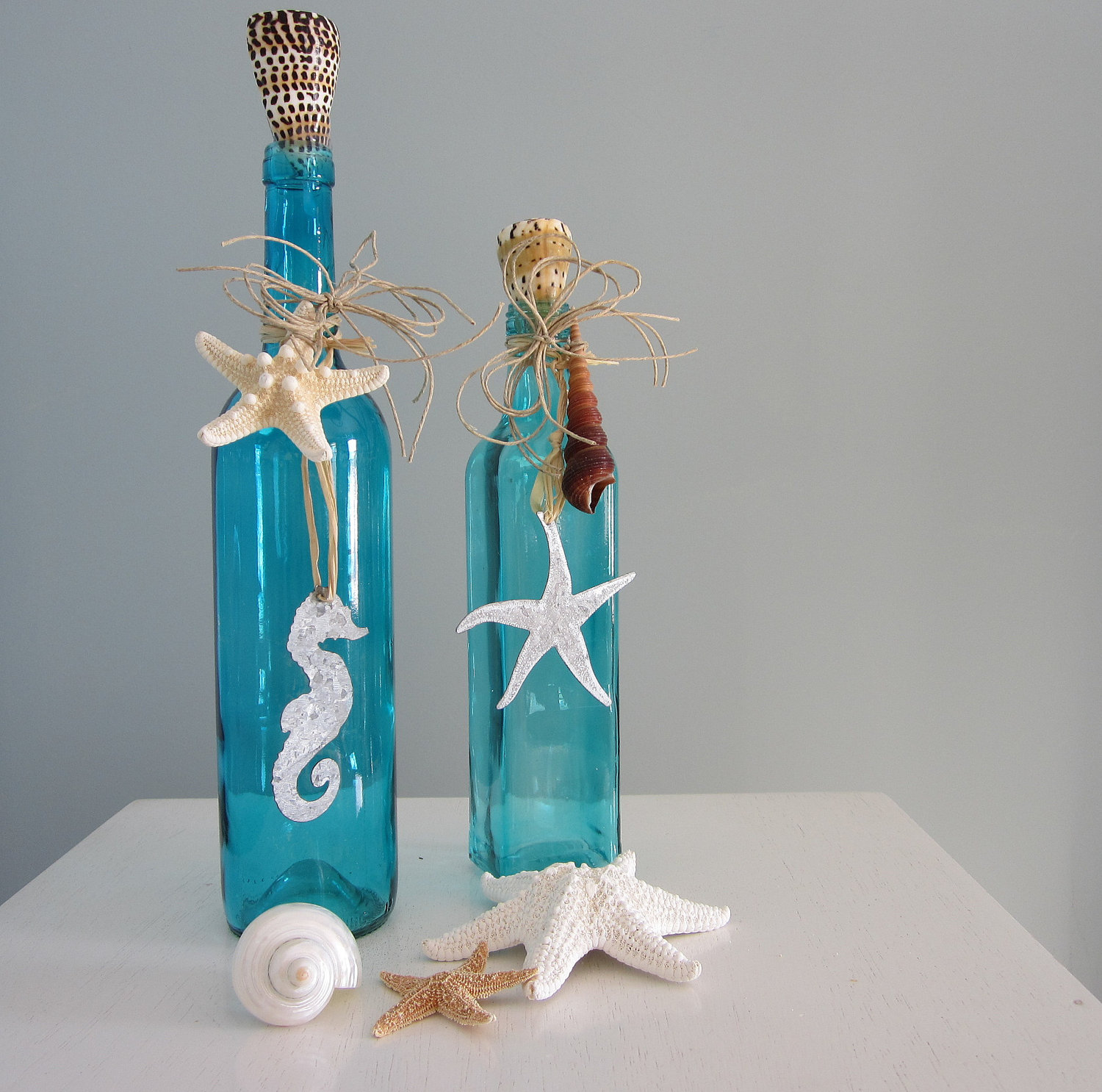 Beach decor decorative bottles nautical bottles in for Decorative vials