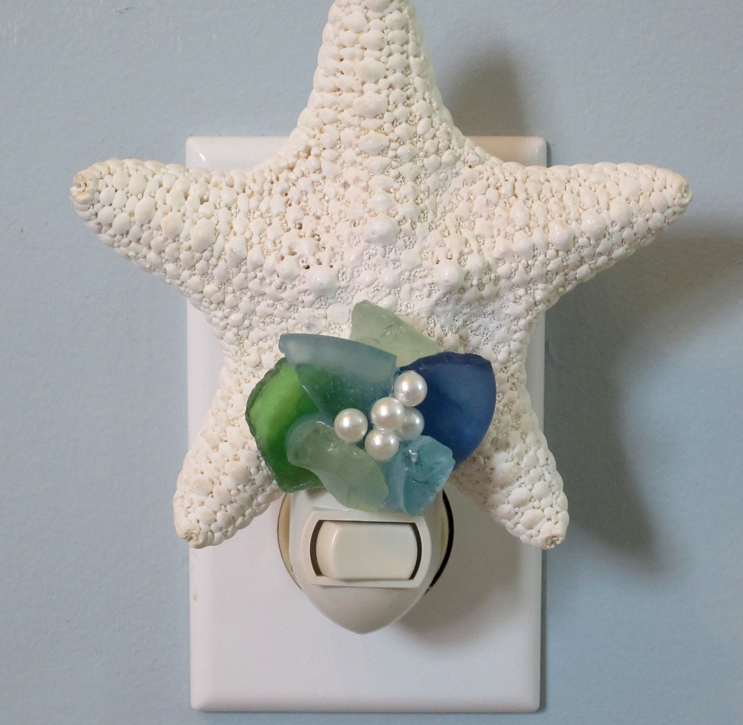 Beach Decor White Starfish Night Light W Sea Glass   Nautical Decor Shell  Nite Lite