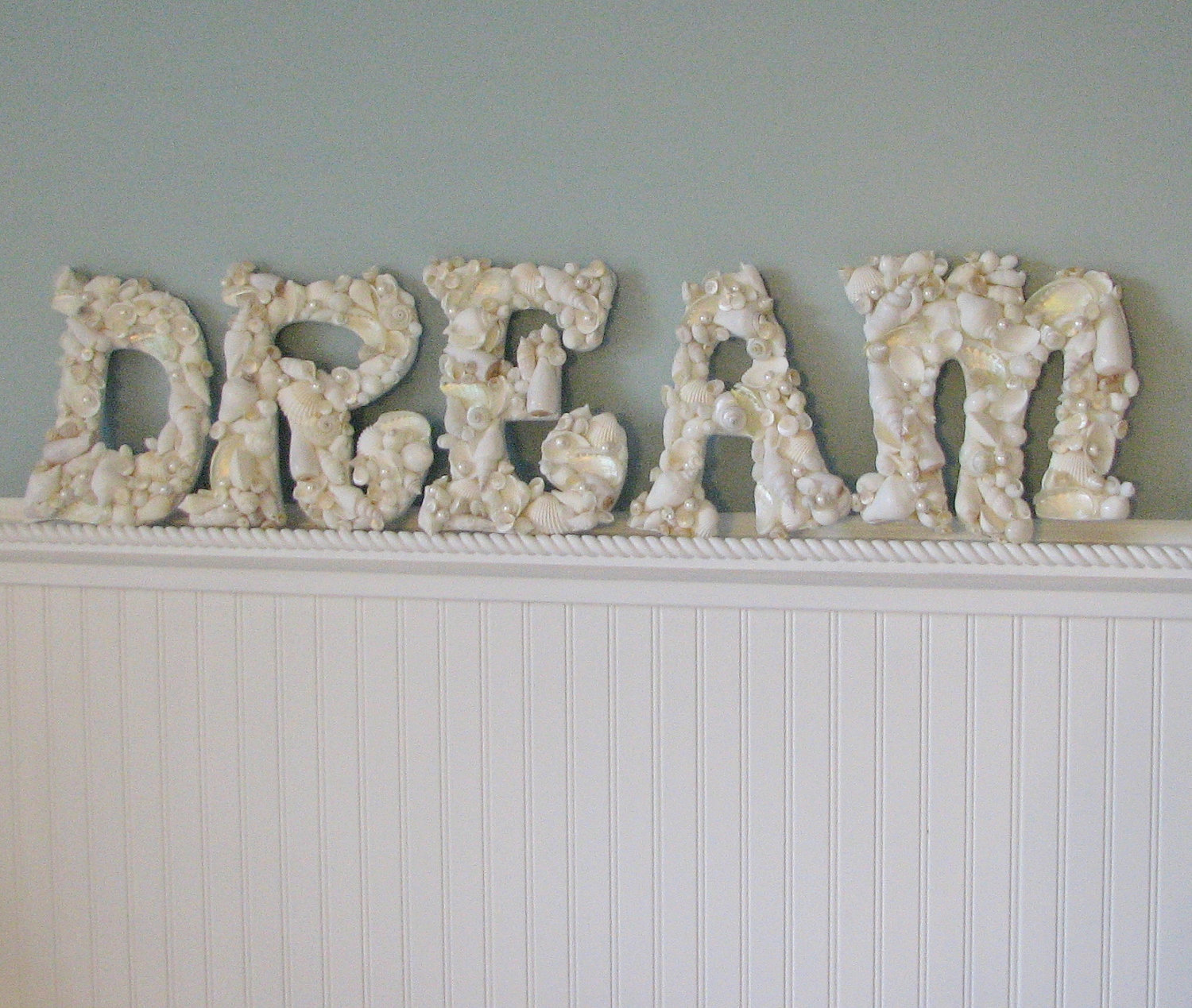 beach decor seashell letters nautical decor shell letters spell dream in white or natural