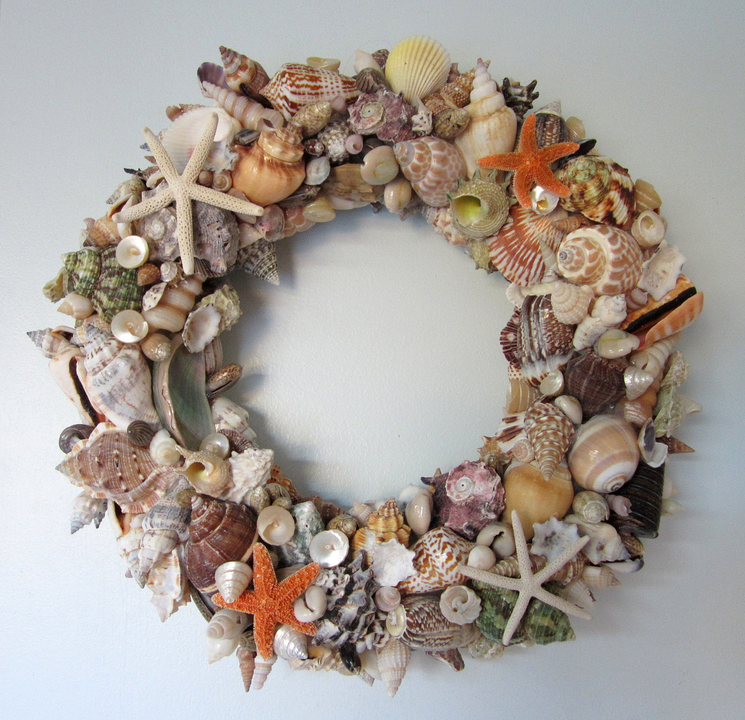 How to how to make phone cases out of paper : Beach Decor Seashell Wreath - Nautical Decor Shell Wreath W Starfish ...