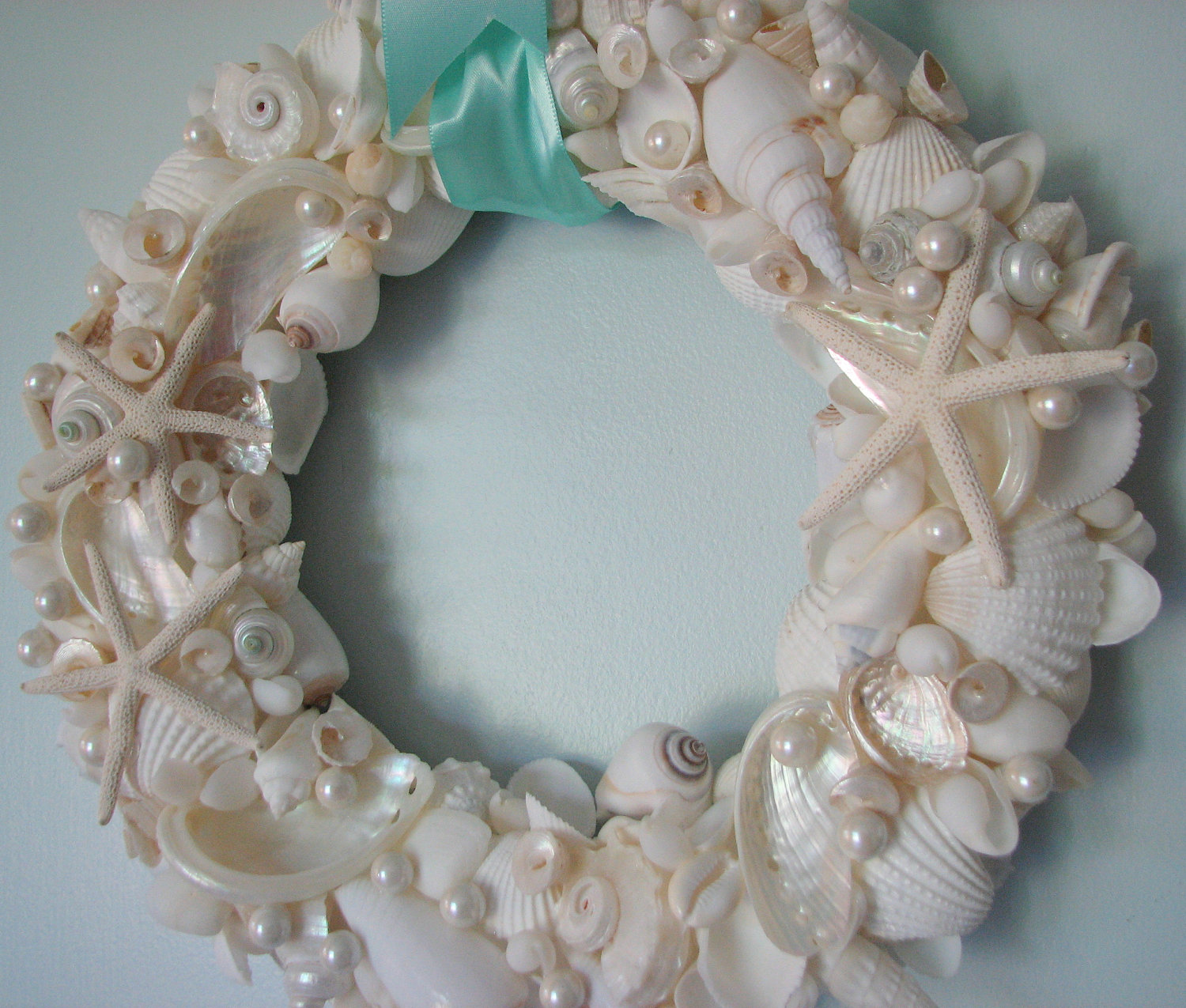 Beach decor seashell wreath shell wreath w all white