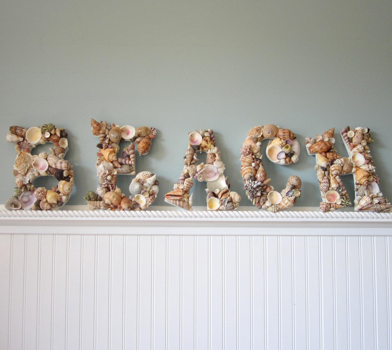 nautical decor shell letters beach decor seashell letters spell beach natural shells