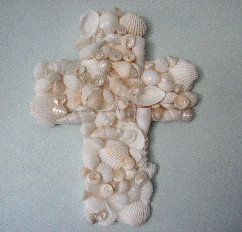 Beach decor seashell cross nautical decor shell cross for Seashell decor