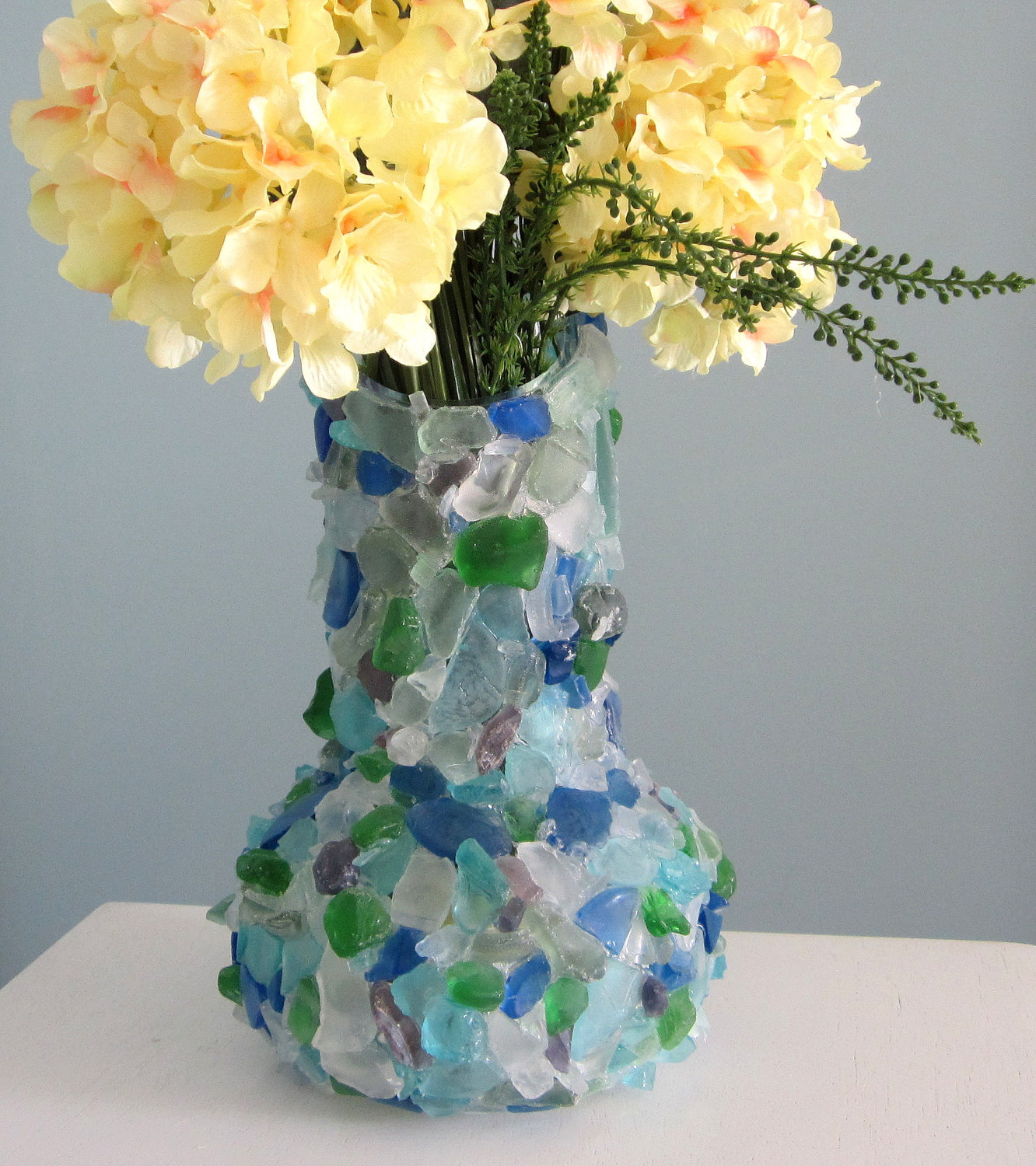 Nice Beach Decor Sea Glass Vase   Nautical Watercolor Beach Glass Vase, 12in