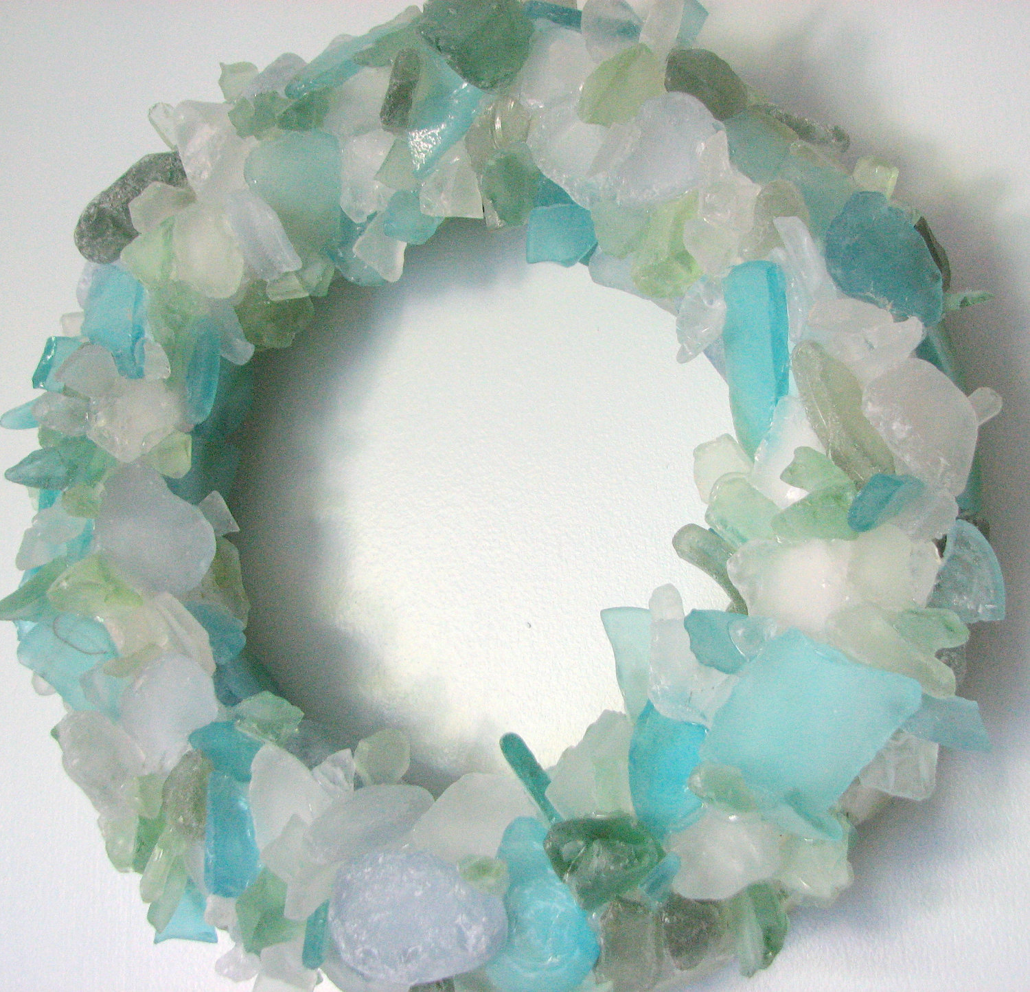 Beach Decor Sea Glass Wreath   Nautical Beach Glass Wreath For Table Or Wall