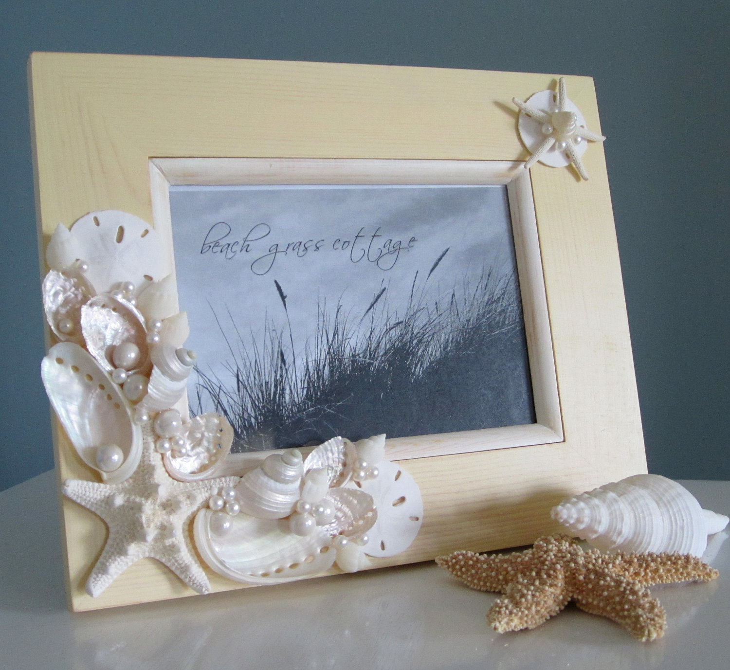 Beach seashell frame nautical home decor shell frame in ivory 8x10 on luulla Home decoration photo frames