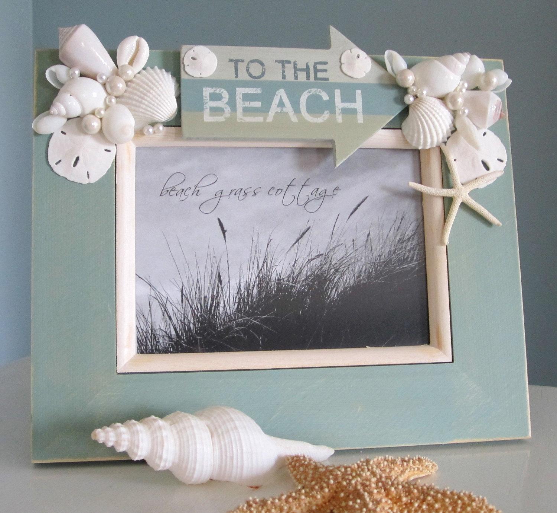 beach decor seashell frame nautical decor shell frame with beach 8x10 aqua