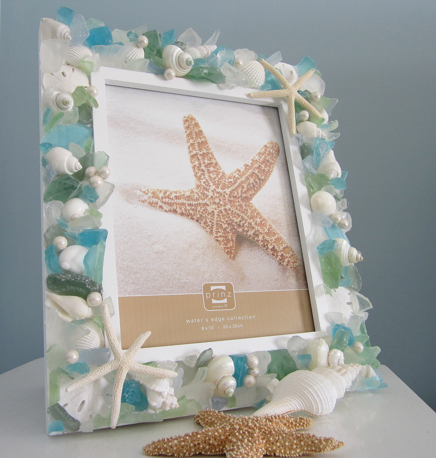 shell frame beach decor nautical seashell frame w pastel sea glass starfish 8x10