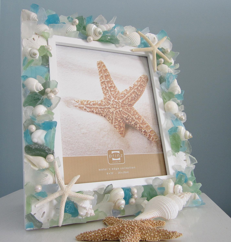 Shell frame beach decor nautical seashell frame w pastel for Seashell decor