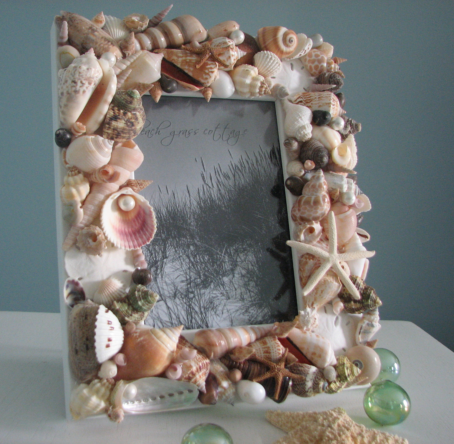 Beach decor seashell frames nautical decor natural shell for Shells decorations home