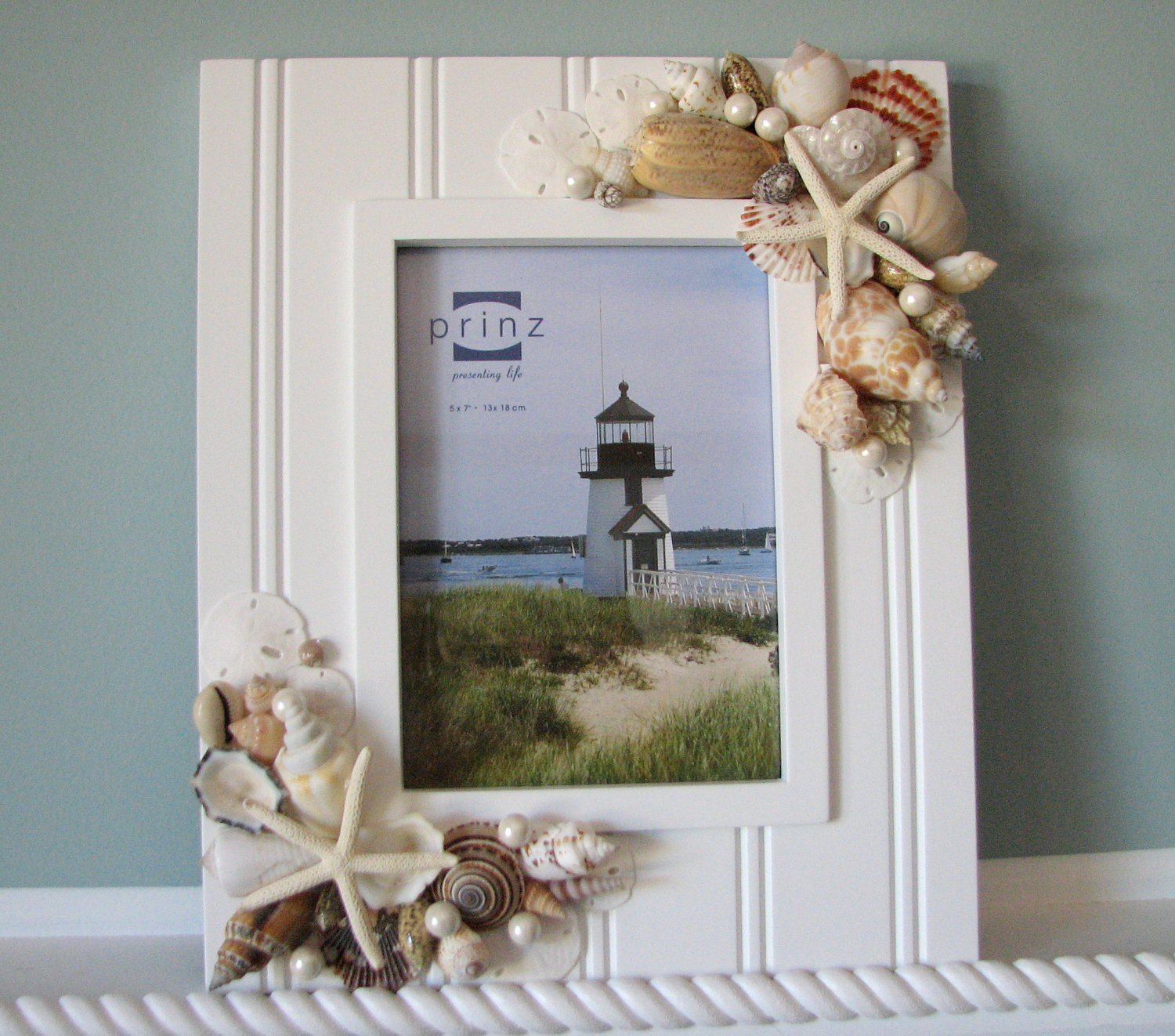 seashell frame beach decor nautical decor shell frame w starfish 8x10