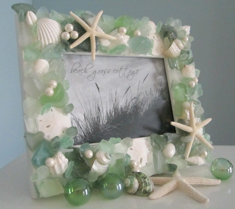 beach frames nautical decor sea glass shell frame w starfish pearls green 8x10