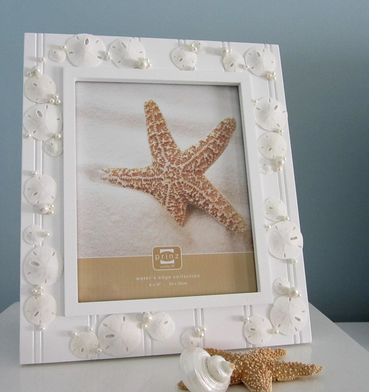 beach frames nautical beach decor shell frame w sand dollars pearls 8x10