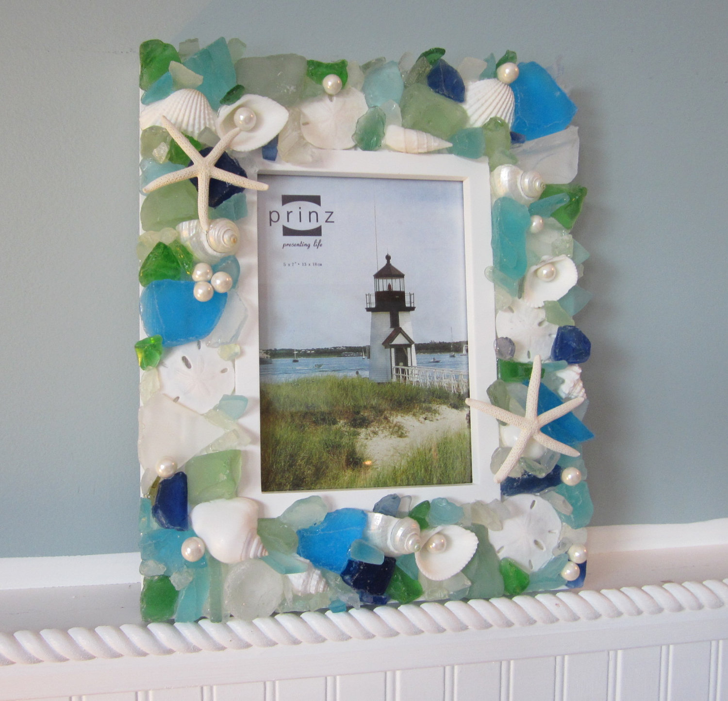 Beach Decor Seashell Frame   Nautical Shell Frame W Sea Glass U0026 Starfish    5x7, All Colors