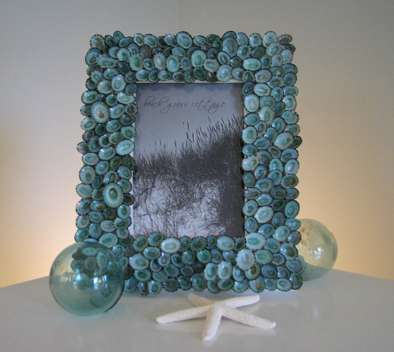 nautical decor beach decor seashell frames shell frame of aqua limpets 5x7 on luulla